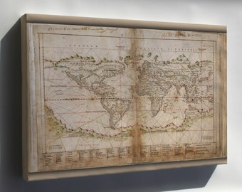 Canvas 24x36; Map Of The World 1630
