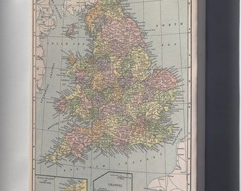 Canvas 24x36; Map Of England And Wales 1927