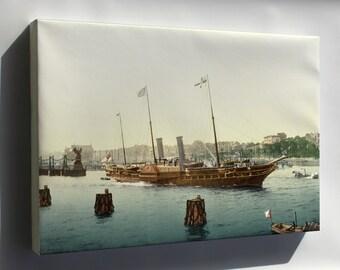 Canvas 24x36; Hmy Osborne Photochrom Print, Circa 1895 (Get Rid Of Fingerprint On Side Of Ship)