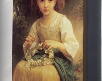 Canvas 24x36; Child Braiding A Crown William-Adolphe Bouguereau (1825-1905) - Child Braiding A Crown (1874)