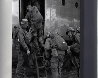 Canvas 24x36; Airborne Paratroops Board For Parachute Drop Korean War 1950