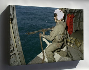 Canvas 16x24; Sikorsky Sh-3H Sea King Helicopter 7.62 Mm M-60D Machine Gun