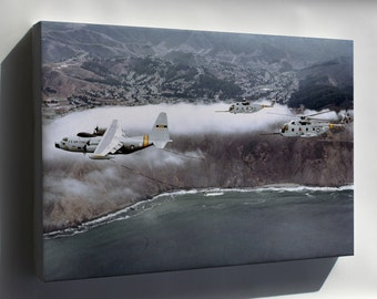 Canvas 16x24; C-130 Hercules & Hh-3E Jolly Green Giant H-3 Helicopters 1979