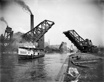 16x24 Poster; 12Th Street Bascule Bridge, Chicago, Illinois, Ca. 1905