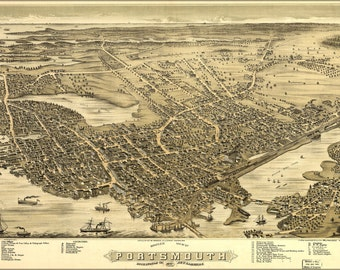 16x24 Poster; Birdseye Map Of Portsmouth New Hampshire 1877