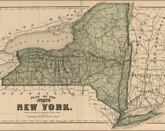 16x24 Poster; Map Of New York State 1875