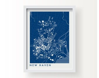 NEW HAVEN CONNECTICUT Map Print - graphic drawing art poster Yale University