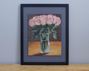 Pink Roses in a Crystal Vase Framed Oil Painting Still Life by Aleksey Vaynshteyn