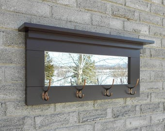 Espresso color entry mirror with oil rubbed bronze hooks (wall mirror,wall coat rack,mirror with shelf,mirror with hooks,coat hook, )
