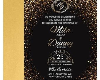 Sparkling Gold Wedding Invitations Suite (100)
