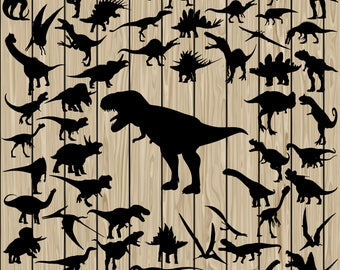 57 Dinosaur SVG, Dinosaur Vector, Dinosaur Silhouette Clipart, Dinosaur DXF, Dinosaur PNG, Dinosaur Eps, Dinosaur Cutting File, T-Rex Svg.