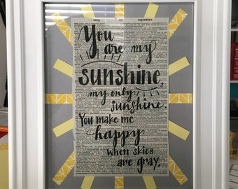 You Are My Sunshine Doodle & Frame