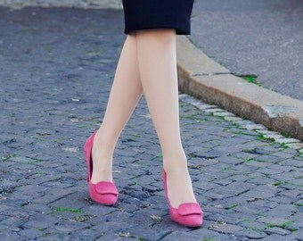 Suede high-heeled shoes  - vintage style