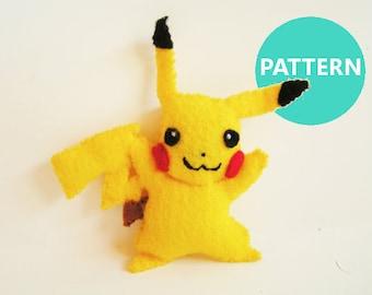 Pokemon Ornament Pattern - Pikachu Felt Ornament Sewing Pattern - Christmas Ornament Tutorial