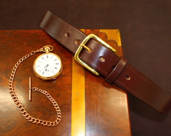 Handmade oak-bark tanned bridle leather belt