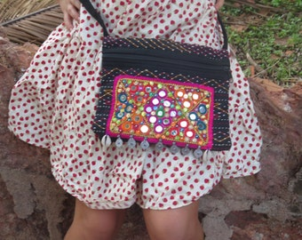 Black Banjara Bag, unique, tribal, ethnic, gypsy, embroidery, mirrors, patchwork, shells, one-of-a-kind, hippy, vibrant colors, handbag