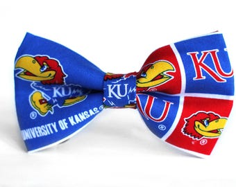 Kansas Jayhawks Bow Tie | College Bow Tie | Sports Bow Tie | College Team | Gift for Him | Kid Basketball Bow Tie | Coach Gift | Dog Bow Tie