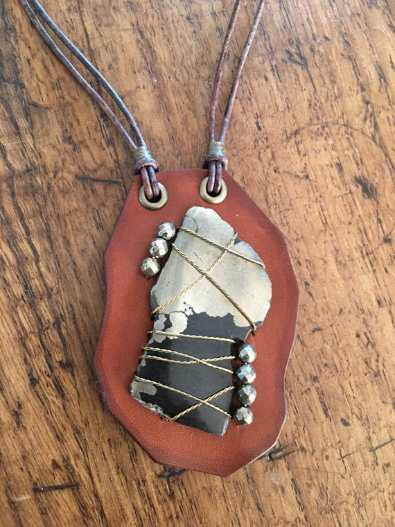 Apache Gold & Pyrite Bead Leather Necklace
