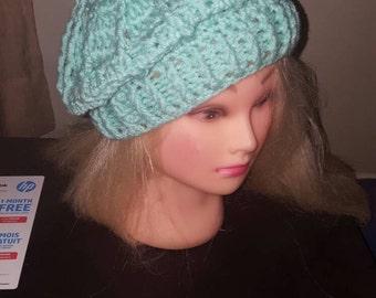Crochet cable beret
