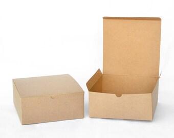 "Favor Boxes, 5 Wedding Favor Boxes, Wedding Gift Boxes, Party Favor Boxes, Bridesmaid Boxes, Brown Boxes, Paper Boxes, Favour Boxes 8x8x3.5"""