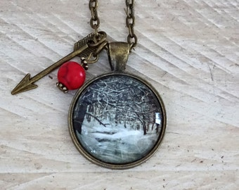 Snow Necklace - Winter Forest Pendant Necklace - Snow Picture Pendant - White - Snowy Glass Pendant - Tree Pendant - Photo Jewelry. B-57