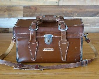 Vintage Brown Leather Photo Bag - Camera Bag - Brown Leather Case Bag - Leather Bag