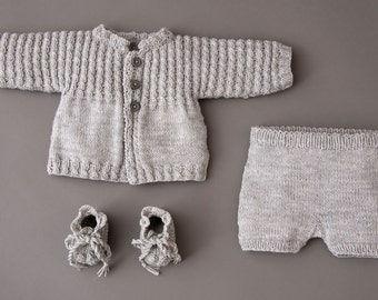 Hand knitted baby set jacket+pants+shoes in grey. Merino extrafine. 0-1.5 / 1.5-6 months. For Newborns.gift. Made to order.