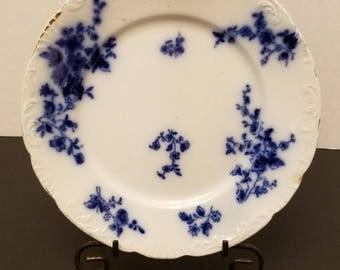 "Vintage/antique w. h. grindley flow blue rose 8"" plate vc25"
