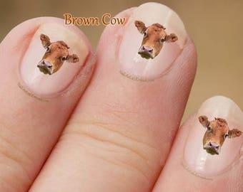 Brown Cow Nail Art Stickers, fingernail stickers. cute nail stickers, Decals, farm animal, Cow nail decals, farm animal nail stickers