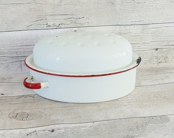 Vintage enamel oven pan dish,pan casserole dish,white oven retro pan with a lid,