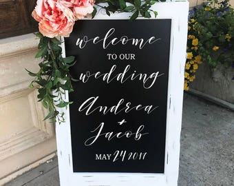 Welcome To Our Wedding Sign Wedding Decor Ceremony Sign Chalkboard Easel Welcome Wedding Chalk Board Sign Wedding Chalk Board Easel