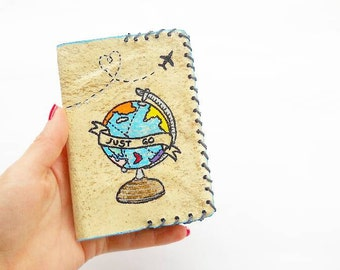 Leather Passport Cover - Holder - Case - Journal - Globe - Traveler - Wallet - ID - Document - Gift - Accessories - Painted - White - Cute