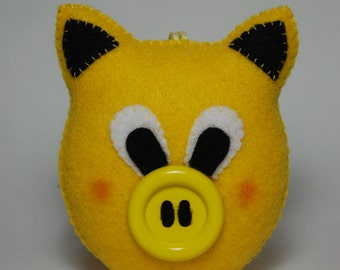 Handmade Yellow Felt Small Pig Stuffed Animal, Pocket Stuffed Toy, Cute Gift