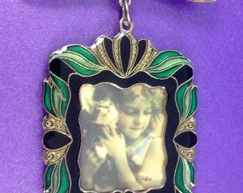 Vintage Picture Frame Brooch, Art Nouveau Revival Brooch,  Enamel Brooch, Circa 1980