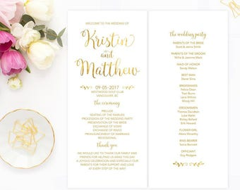 Gold Wedding Program, Printable Program, White Gold Wedding Program, DIY Wedding Program, Wedding Ceremony Program, GFWF