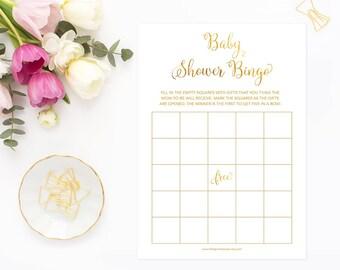 Baby Shower Bingo Cards, Baby Shower Bingo, Gender Neutral Baby Shower Game, Gold Baby Shower Game, Printable Digital GFBS, INSTANT DOWNLOAD