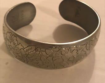 """1970's Kirk Pewter Cuff Bracelet """"Violet"""" 900-2"""