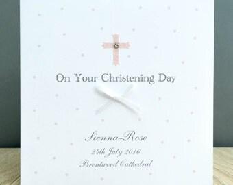 Personalised Christening Card - Handmade Personalised Christening Card - Girls Christening Card - Personalised Christening Name Card