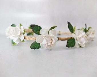 Minimal flower hair wreath - white flower with leaves headpiece -  flower leaves crown - flower headpiece - flower hair accessories