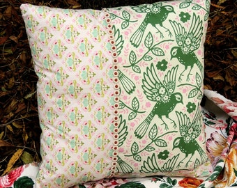 """Cushion, pillow, décorative pillow """"Green Bird"""""""