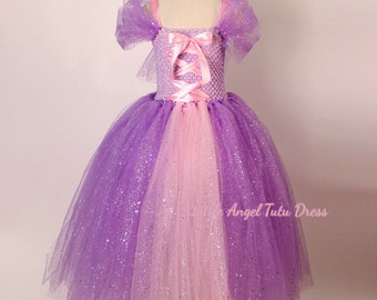 DELUXE Tangled Rapunzel Glitter Purple Dress, Handmade Disney Princess Dress, Glitter Tulle Dress, Birthday Dress + Fully Lined Top