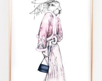 Illustration print Hare