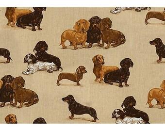 Designer DACHSHUND DOG Toile LINEN Fabric 10 yards Multi