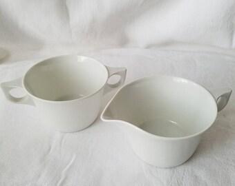 Vintage White Cream and Sugar Set
