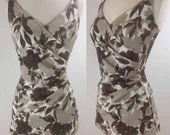 1960's Brown & Taupe Floral Bathing Suit with Asymmetrical Bust and Ruched Waist | Size Small/Medium