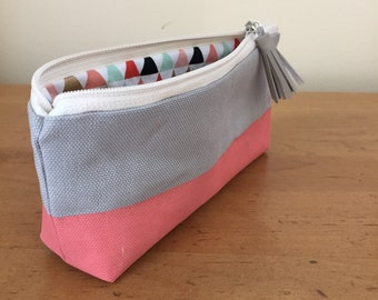 Striped Painted Pencil Pouch Zipper Bag