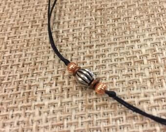 CHOKER or BRACELET COPPER & 925 Bali Beads