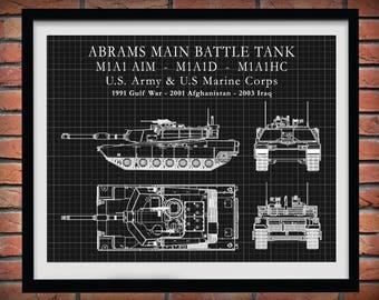 M1A1 Abrams Main Battle Tank  M1A1-AIM - M1A1D Tank - M1A1HC Military Tank - Poster Print - US Army Tank - USMC Tank