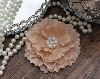 """4 1/2"""" Beige / Khaki Fabric Peony Flowers Layered with Crystal Pearl Center - Elegant - Beautiful - Hair Accessories - Wedding - TheFabFind"""