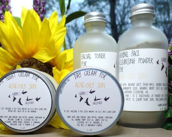Acne Skincare Kit, Natural Acne Treatment Set, Organic Skincare, Vegan Skincare, Detox, Chemical Free